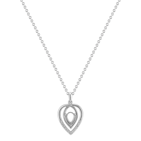 "Swirl Pendant with Diamond Accent for Pear-Shaped Gemstone (22"")"