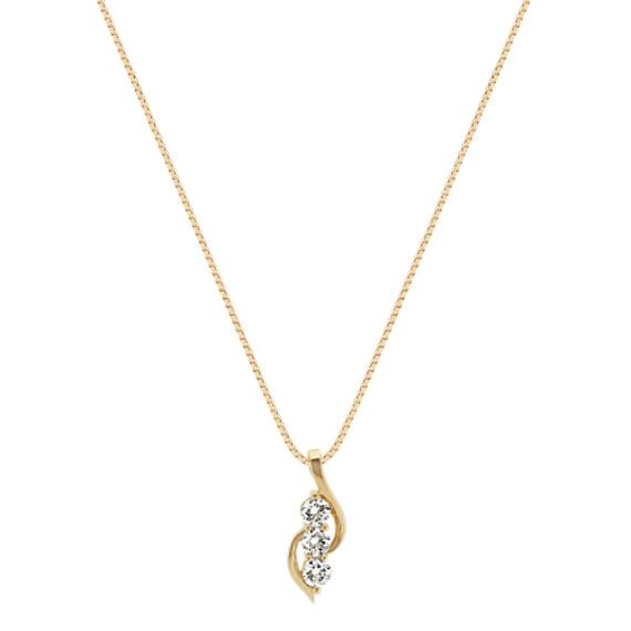 "Swirling Three-Stone Diamond Pendant in 14k Yellow Gold (18"")"