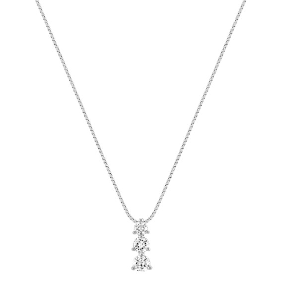 "Three-Stone Diamond Pendant (18"")"