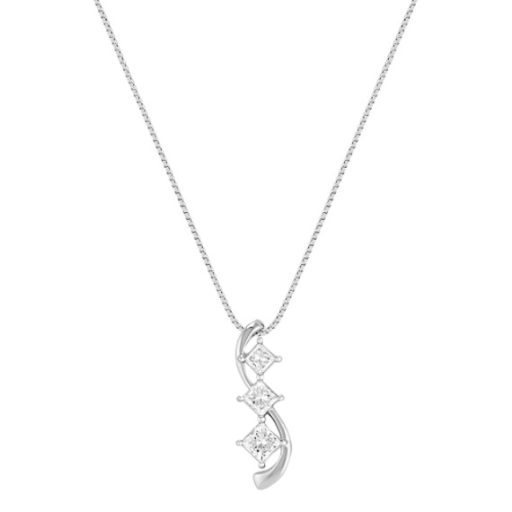 "Three-Stone Princess Cut Diamond Pendant (18"")"