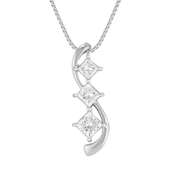 Three-Stone Princess Cut Diamond Pendant (18)
