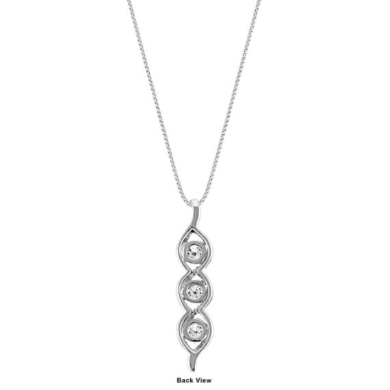 """Three-Stone Round Diamond Swirl Pendant in 14k White Gold (18"""")"""