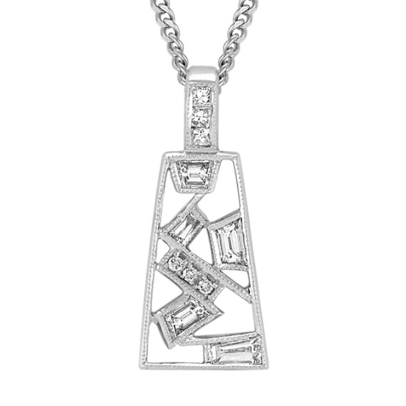 Trapezoid, Princess Cut, Baguette and Round Diamond Pendant (18)