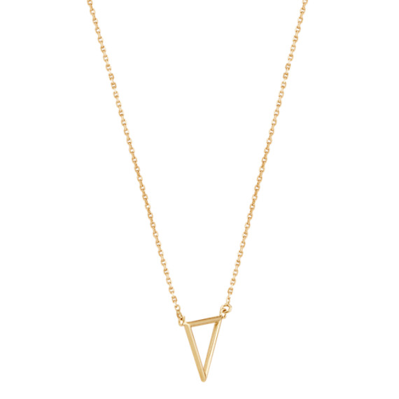 "Triangle Necklace in 14k Yellow Gold (16"")"