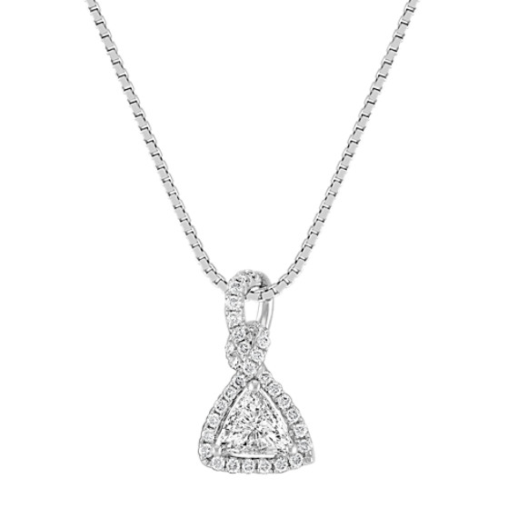 "Trillion and Round Diamond Pendant (18"")"