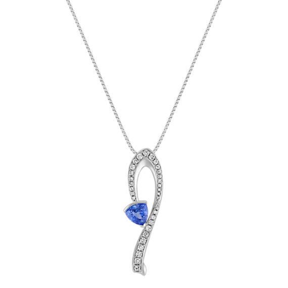 Trillion Kentucky Blue Sapphire and Round Diamond Pendant (18)