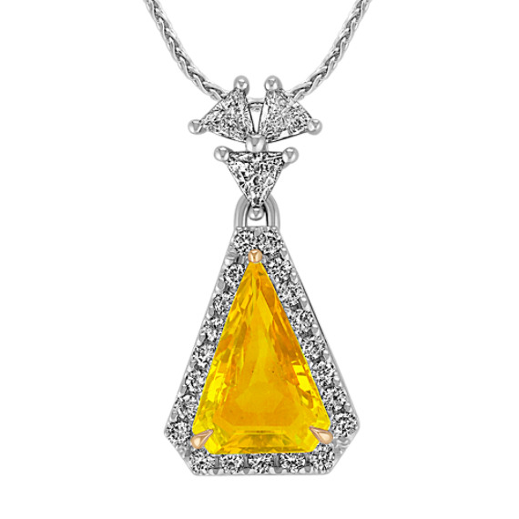Trillion Yellow Sapphire and Trillion Diamond and Round Diamond Pendant (18)