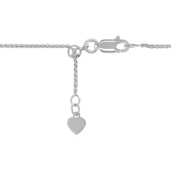 """Two-Tone Circle Diamond Pendant for Round Gemstone (22"""")"""