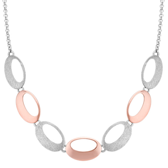Two Tone Sterling Silver Oval Disc Necklace (18)