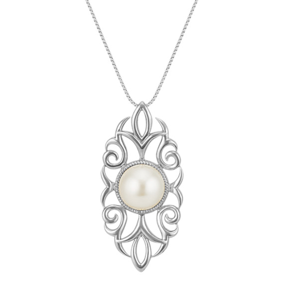 Vintage 12mm Cultured Freshwater Pearl Pendant in Sterling Silver (18 in.)