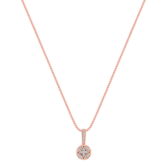 Vintage Diamond Cluster Circle Pendant in Rose Gold (18)
