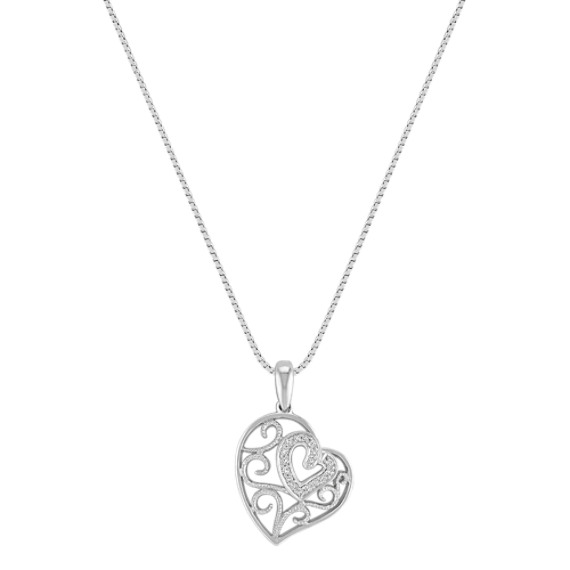 Vintage Diamond Heart Pendant in Sterling Silver (18)