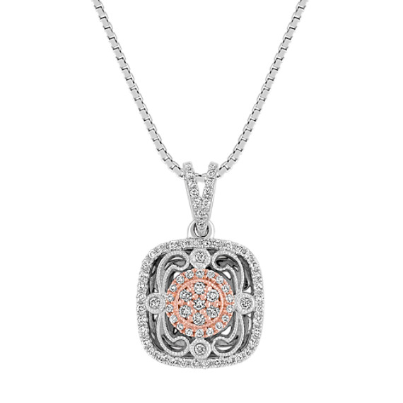 Vintage Diamond Square Pendant in White and Rose Gold (18)