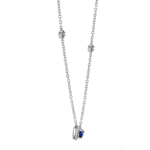 Vintage Heart-Shaped Sapphire and Diamond Necklace (18 in.)