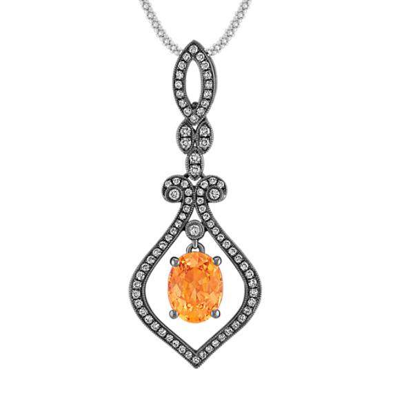 Vintage Oval Orange Sapphire and Round Diamond Pendant with Black Rhodium (22)