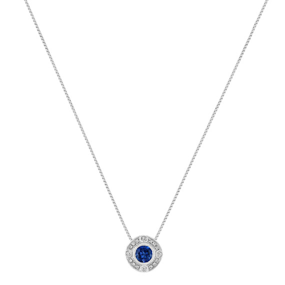 "Vintage Round Sapphire and Diamond Circle Pendant (18"")"