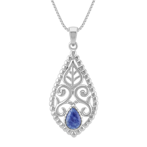 """Vintage Sodalite and Sterling Silver Pendant (18"""")"""