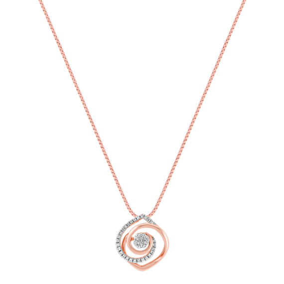 "White and Rose Gold Diamond Pendant (18"")"