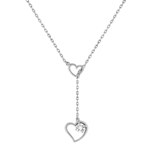 "White Sapphire and Sterling Silver Heart Necklace (17"")"