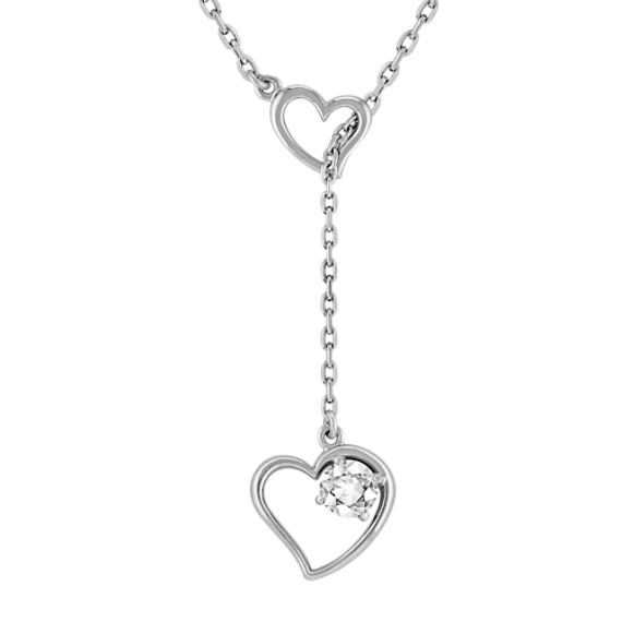 White Sapphire and Sterling Silver Heart Necklace (17)