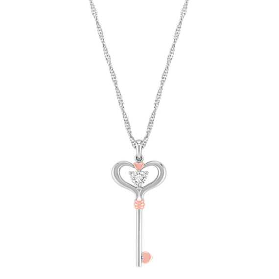 White Sapphire Heart Key Pendant in Sterling Silver and 14k Rose Gold (20)