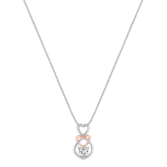 White Sapphire Heart Pendant in Sterling Silver and 14k Rose Gold (18)