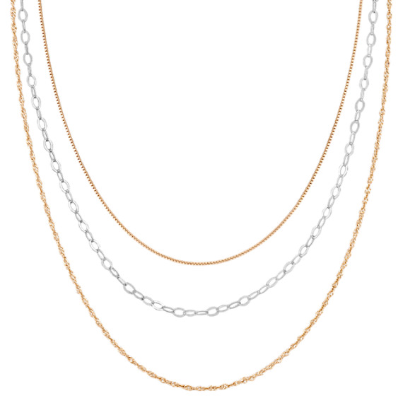 "Yellow Sterling Silver & Sterling Silver Three Chain Set (20"")"