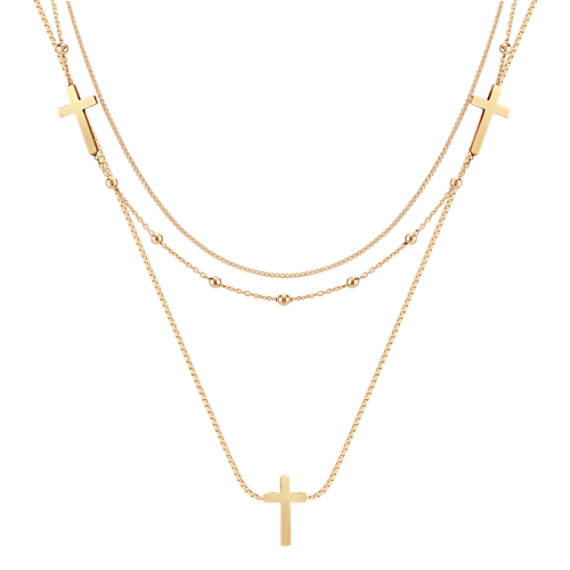 "Yellow Sterling Silver Triple Chain Cross Necklace (18"")"