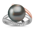 11mm Cultured Tahitian Pearl and Round Diamond Ring in 14k Two-Tone Gold