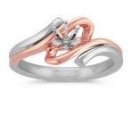 14k White and Rose Gold Swirl Ring