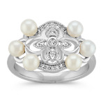 3.5mm Cultured Freshwater Pearl and Round Diamond Vintage Ring