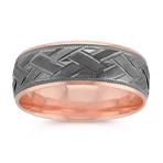 8mm Engraved 14k Rose Gold Ring with Black Rhodium