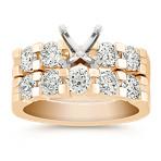 Aligned Round Diamond Wedding Set