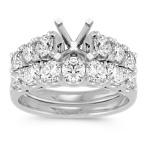 Ample Sized Cathedral Diamond Wedding Set