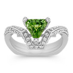 Angled Trillion Green Sapphire and Round Diamond Ring