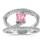 Asscher Cut Pink Sapphire and Diamond Ring in 14k White Gold