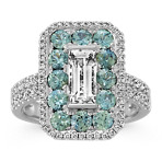 Baguette White Sapphire, Round Blue Green Sapphire and Diamond Ring