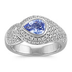 Bezel-Set Pear-Shaped Ice Blue Sapphire and Round Diamond Ring