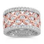 Bezel-Set Round Diamond Ring in 14k Rose and White Gold