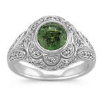 Bezel-Set Round Green Sapphire and Round Diamond Ring