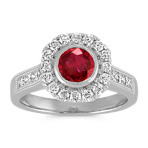 Bezel-Set Round Ruby, Round and Princess Cut Diamond Ring