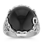 Black Agate and Sterling Silver Ring