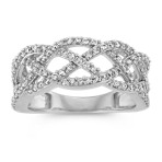 Braided Round Diamond Cluster Ring in 14k White Gold