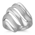 Brush and Polish Finished Sterling Silver Wave Ring