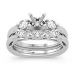 Cathedral Three-Stone Diamond Wedding Set