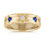 Channel-Set Diamond and Sapphire Ring in 14k Yellow Gold (7mm)