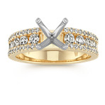 Channel-Set Round Diamond Classic Engagement Ring in 14k Yellow Gold