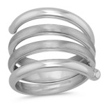 Coil Ring in Sterling Silver with Brushed and Polished Finishes