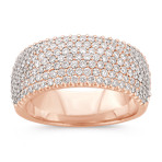 Contemporary Pavé Diamond Ring in 14k Rose Gold