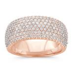 Contemporary Pavé Diamond Ring in 14k Rose Gold